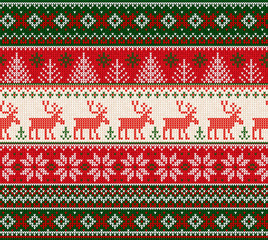Ugly sweater Merry Christmas Happy New Year seamless pattern frame.