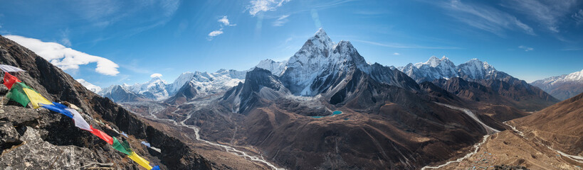 Panoramic view of  great Himalayan range.  Mount Ama Dablam in the middle. Nepal, Everest area.