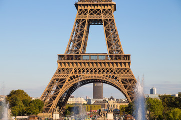 PARIS, FRANCE, SEPTEMBER 7, 2018 - View of Eiffel Tower close-up  from Trocadero in Paris, France.