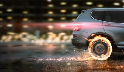szybki samochód z płonącymi oponami