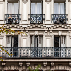 PARIS, FRANCE, on OCTOBER 26, 2018. Typical architectural details of facades of historical building.