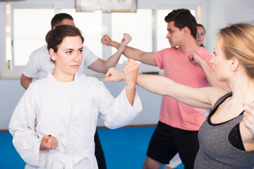 Mixed group of adult karate