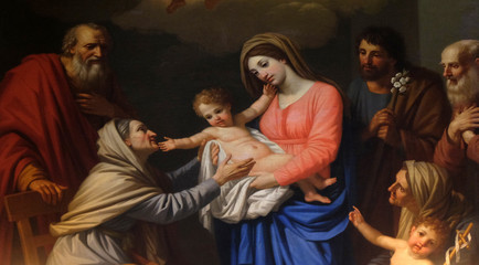 Saint Anne adores the Child by Stefano Tofanelli, Basilica of Saint Frediano, Lucca, Tuscany, Italy