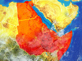 Northeast Africa from space on model of planet Earth with country borders. Extremely fine detail of planet surface and clouds.