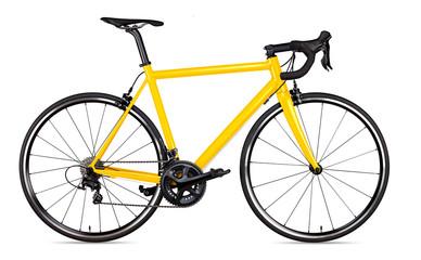 yellow black racing sport road bike bicycle racer isolated