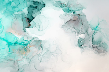 Ink, paint, abstract. Closeup of the painting. Colorful abstract painting background. Highly-textured oil paint. High quality details. Brown, gray, white, sky blue, sky blue, green, ultramarine.