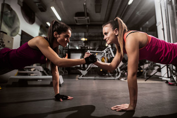 Women doing endurance and holding hands. In background exercise equipment.