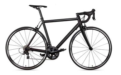 czarny wyścigi sportowe drogi racer rower racer rower na białym tle
