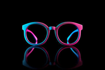 Stylish sunglasses shot using pink and blue abstract colored lighting with copy space.