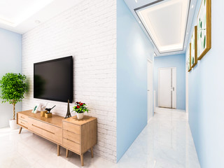 TV, TV cabinet and hallway in modern living room