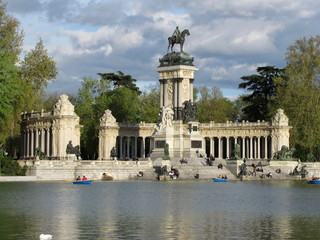 Monument to Alfonso XII in the Buen Retiro Park, one of the largest parks of Madrid city, Spain.