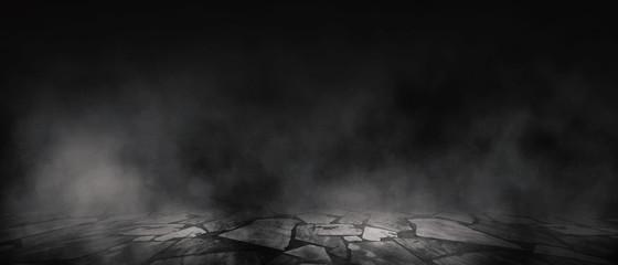 Tło pustego pokoju, ulica, światło neonowe, dym, mgła, asfalt, betonowa podłoga