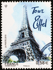 Eiffel tower on french postage stamp