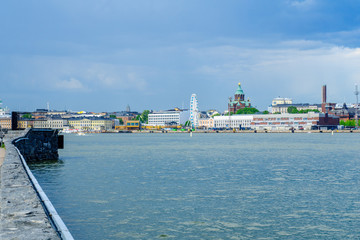 South harbor, SkyWheel, Russian Orthodox Uspenski Cathedral, in Helsinki, Finland