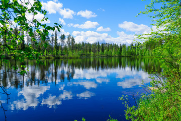 Landscape of lakes and reflections in Lapland
