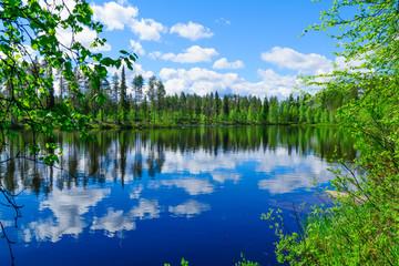 Krajobraz jezior i refleksje w Laponii