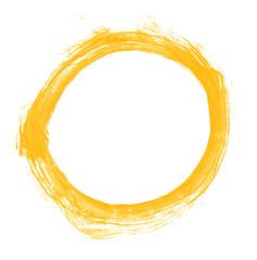Unordentlicher orange gelber gemalter leerer Kreis
