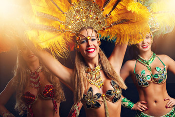 Brazilian women dancing samba at carnival