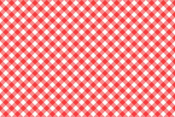 Gingham red checkered seamless pattern. Plaid repeat design background.