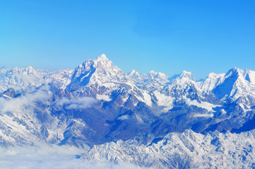 Wonderful aerial views in Nepal fly over to mountain Everest Himalaya.