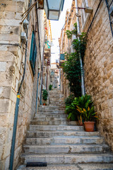 Medieval narrow street in old town of Dubrovnik, Croatia