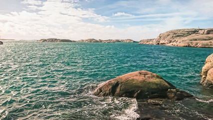 Beautiful stone islands with beautiful nature on the shores of the North Sea, Sweden.