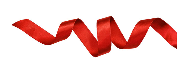 Curled red satin ribbon