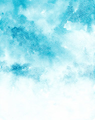 Blue watercolor sky background