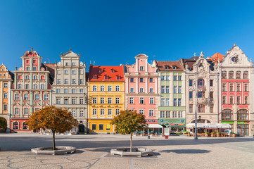 Beautiful historical tenement houses at Old Market Square in the Old Town in Wroclaw, Poland.