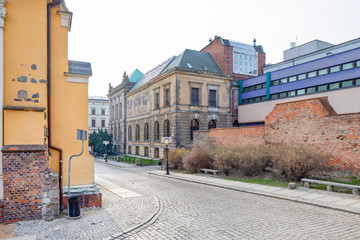 The National Museum in Poznan / Poland and the medieval ramparts, defensive walls, fortifications.