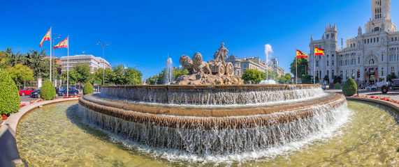 Panoramic view of the fountain of the goddess Cibeles, one of the main monuments in the center of Madrid, Spain