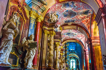 Interior of Fara, St. Mary's Basilica in Poznan, Poland