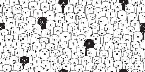 Bear seamless pattern vector polar bear breed scarf isolated cartoon illustration tile background repeat wallpaper doodle