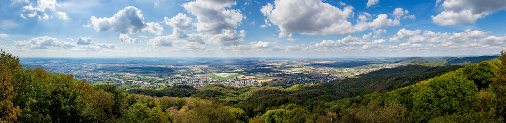 Panoramic view of south Hessia, Germany, seen from Melibokus, the highest mountain of the forest of odes.