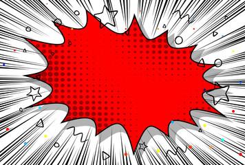 Vector illustrated retro comic background, pop art vintage style.