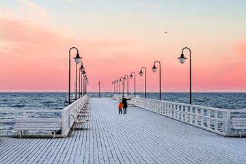 pier in baltic sea winter