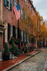 Autumn color along Philip Street in Society Hill, Philadelphia, Pennsylvania.