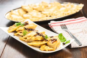 Dumplings - a traditional dish of Polish cuisine.