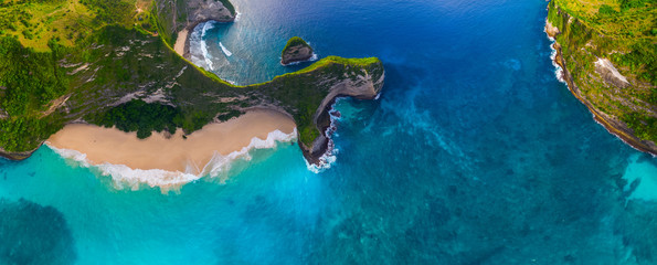 Aerial panorama of the Kelingking beach on the island of Nusa Penida, Bali, Indonesia