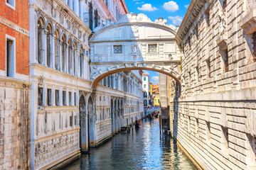 The Bridge of Sighs over the canal of Venice, Italy