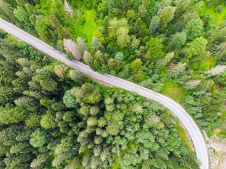 Highway road in forest, view from above