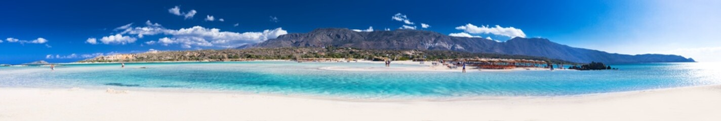 Elafonissi beach with pink sand on Crete island with azure clear water, Greece, Europe