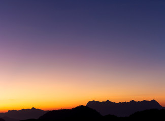 colorful of sky in the evening or morning at famous mountain in Thailand