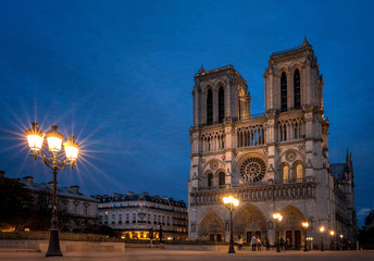 Notre Dame de Paris Cathedral after the sunset, most beautiful Cathedral in Paris.