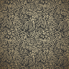 Vintage seamless pattern with curls