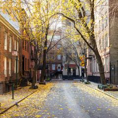 New York City block in the Greenwich Village neighborhood of Manhattan