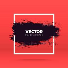 Grunge background. Brush black paint ink stroke over square frame. Vector illustration