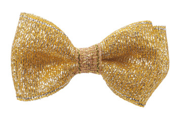 Golden hair bow tie with tinsels
