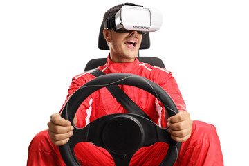 Racer in a car seat holding a steering wheel and wearing VR headset