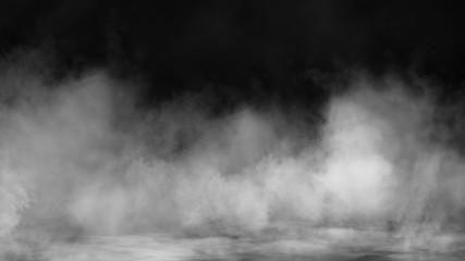 Mgła i efekt mgły na czarnym tle. Tekstury dymu